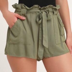Olive Green Paper Bag Shorts (will accept offers)